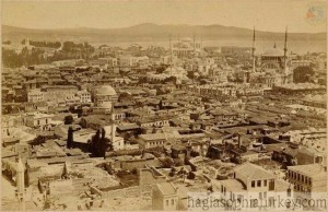 From Beyazit Tower towards Sultanahmet, on the right Nuruosmaniye Mosque, back plate Hagia Sophia, Istanbul, 1921