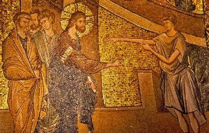 Chora Mosaics. Man is showing his diseased arm to Christ.