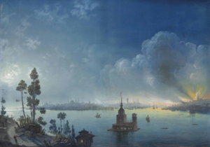 A View Across the Bosphorus Towards Kız Kulesi by Night, 1848 Carlo Bossoli