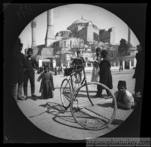 William Sachtleben's Humber bicycle at rest in Constantinople draws a crowd of spectators. Background In the summer of 1890